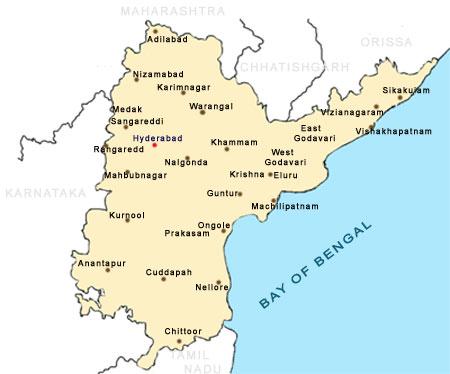 Map of Andhra Pradesh Cities